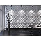 Art3d Decoratieve 3D Wandpanelen PVC Getextureerde Wandpaneel Tegels Tegelsticker Waterdicht Muur Decoratie Muurpanelen, Wit,