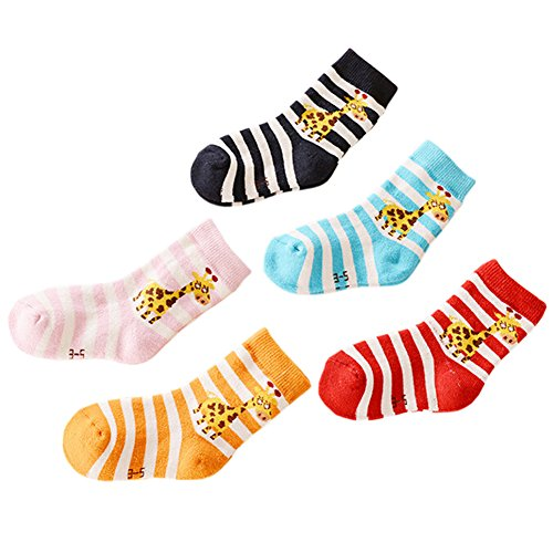 5 Pair Lovely Baby Winter-Socken Baumwolle Rohr Strümpfe Warme Socken Giraffe (Rohr Socken Baumwolle)
