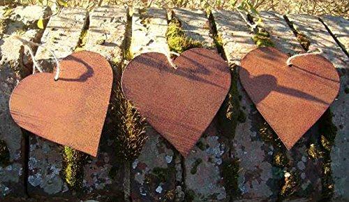 Deko-Hänger, Herzen, 3 Stück, Herzanhänger, Eisen Edelrost 15 cm