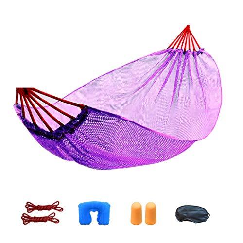 SSHHI Freizeit hängematte, EIS Seide Nylon mesh Outdoor schaukel strandbett Multi-Color 190 * 125 cm tragfähigkeit 175 kg (Color : Purple, Size : 190 * 125CM) -