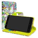 LiuShan BQ Aquaris VS/Aquaris V Hülle, Brieftasche Handyhülle Schutzhülle PU Leder mit Kartenfächer und Standfunktion für BQ Aquaris VS/Aquaris V (5,2 Zoll) Smartphone,Love Tree