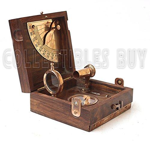 Preisvergleich Produktbild Vintage Sechs Instrument Marine Master Box - Nautik Kompass Teleskop-Maßstab Diagramm Wasserwaage alhidade Maritime Einzigartige Holz Box Artikel