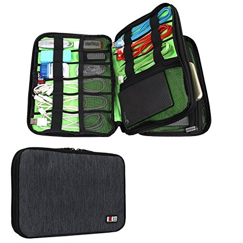 BUBM Universale Reisetasche Organiser Praktische Handtasche mit Doppelschicht für Elektronisches Zubehör/Ladegrät (Mittel, Schwarz) (Heavy-duty-batterie-kabel)