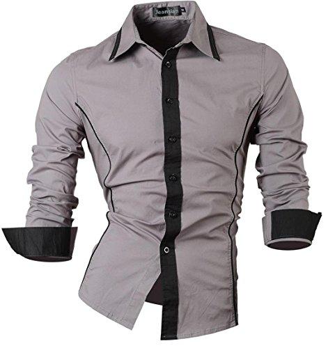 Jeansian uomo camicie maniche lunghe moda men shirts slim fit casual long sleves fashion 8015 gray l