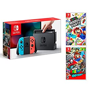 Nintendo Switch 32Gb Neon-Rot/Neon-Blau Pack Super Mario Party + Super Mario Odyssey