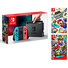 Nintendo Switch Rouge/Bleu Néon 32Go Pack Super Mario Party + Super Mario Odyssey