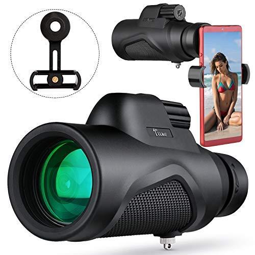 TELMU Telescopio Monocular 12 x 50 HD Spotting Scope Monculares Portátil Telescopio con Clip de teléfono para la observación de animales o aves/ viajes de caza/ juego de pelota /concierto