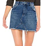 Faldas para mujer, Mujer Falda Básica de Vaqueros Rotos vendaje lápiz bodycon cadera mini falda jeans Verano Sexy Bolsillos Azul Faldas De Mezclilla Minifalda corta con botones (XL)