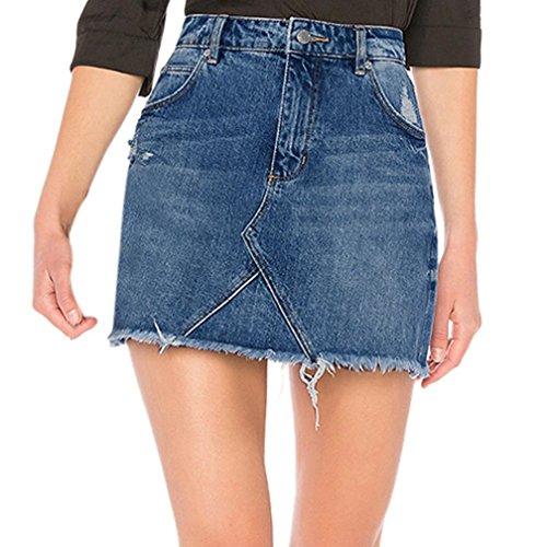 Faldas para Mujer, Mujer Falda Básica de Vaqueros Rotos Vendaje lápiz Bodycon Cadera Mini Falda Jeans Verano Sexy Bolsillos Azul Faldas De Mezclilla Minifalda Corta con Botones (L)