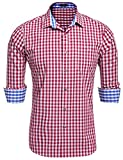 Coofandy Herren Hemd Kariert Cargohemd Trachtenhemd Baumwolle Freizeit Regular Fit (XX-Large, Rot und weiß)