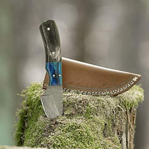 elToro Wood Horn - Damast - Jagdmesser - 7cm - inkl. Lederscheide