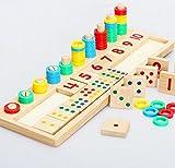 Juleya Baby Wooden Count und Match Zahlen Frühe Pädagogische Spielzeug Montessori Materialien Geschenk, Mathe Blocks Form Sorter Knob Puzzle Lernen für Kinder (16,92 X 5,51 X 1,177 Zoll)