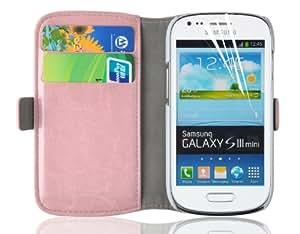 JAMMYLIZARD | Luxuriöse Ledertasche für [ Samsung Galaxy S3 Mini ] Flip Cover Hülle, PFIRSICHROSA