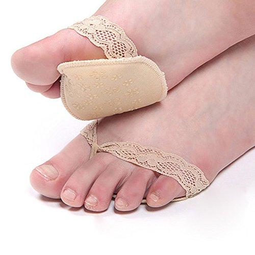 LQZ(TM Semelles Antidérapant Coussinet Plantaires Protecteurs En Gel Anti-choc Dentelle avec Lanières Soulager la douleur de l'avant-pied pour Les Chaussures à Talons avec Lanières