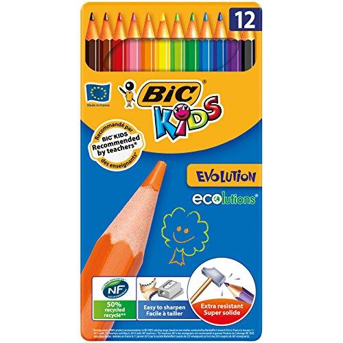 BiC Kids Ecolution Evolution - Caja de metal con 12 lápices de colores