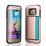 """Liamoo Samsung Galaxy S6 Edge (5,1"""") Profi Schutzhülle stoßfest mit hohem Fallschutz und Kartenfach (rosegold)"""