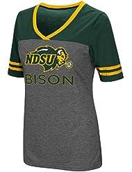 "North Dakota State Bison Women's NCAA ""McTwist"" Dual Blend V-neck T-Shirt Chemise"