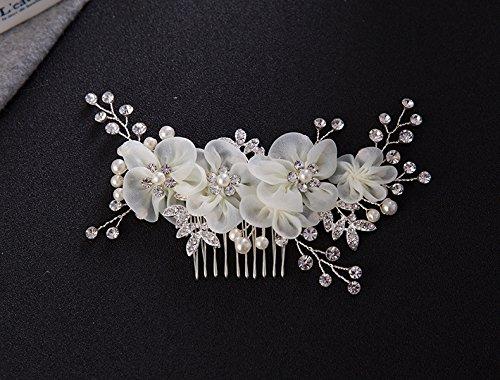 Musuntas Handarbeit Eleganter Retro elegant Damen Blumen Braut Kamm Perlen Strass Hochzeit Brautschmuck Braut Haarschmuck Strass Haarklammer - 2