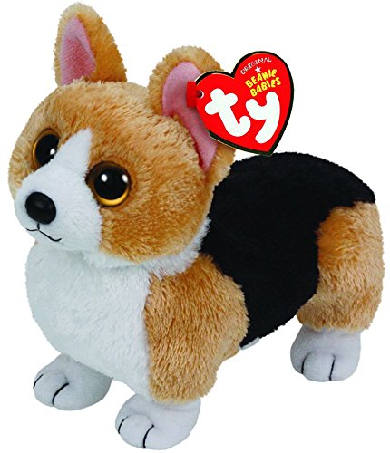 TY 42102 Otis – Corgi Dog with Glitter Eyes, Plush toy, 15 cm