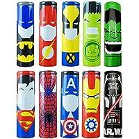 10PCS 18650 Battery Sleeves / Wraps, Wrap para pilas 18650 Tubo termocontraíble, funda retráctil de repuesto, 29 mm funda 100% auténtica precortada para pilas 18650, Superman (Set of 10Heroes)