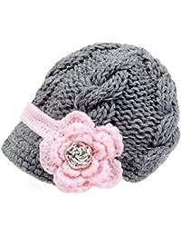 Sombrero con visera Bestknit para niña bebé, hecho a mano, de punto de cruz