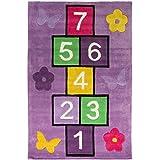 Flair Rugs–Alfombra infantil/niños alfombra de suelo diseño de rayuela, poliéster, Morado, 70 cm x 100 cm