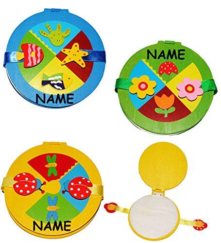Unbekannt CDbox aus Holz - incl. Name - für 10 Stück - CD / für Jungen - Holzbox Aufbewahrung - für Kinder - Wallet Hülle Box CDTasche CDHülle - Blume Fisch CDs / Bunte..