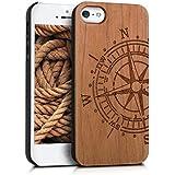 kwmobile Hülle für Apple iPhone SE / 5 / 5S - Case Handy Schutzhülle Kirschholz auf Kunststoff - Hardcase Cover Kompass Design Hellbraun
