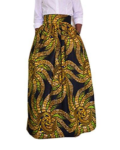 Damen A-Linien Röcke Elegant Faltenrock Langer Rock Maxirock Vintage Casual Standrock Schwarz