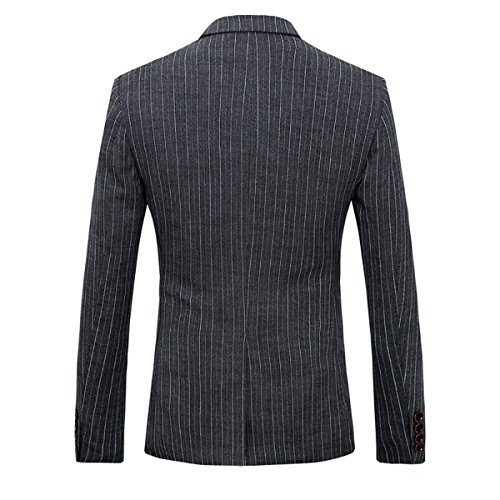 Cloudstyle costume rayé homme formel d'affaire élégant smoking blazer un bouton cintré slim fit veste gilet pantalon trois pièces Gris