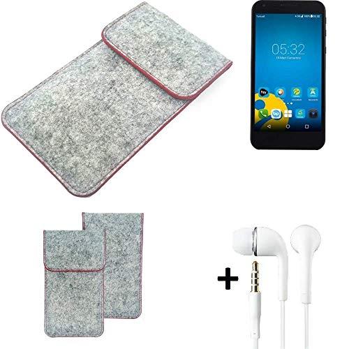 K-S-Trade® Filz Schutz Hülle Für Vestel 5000 Dual-SIM Schutzhülle Filztasche Pouch Tasche Handyhülle Filzhülle Hellgrau Roter Rand + Kopfhörer