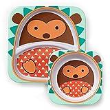 Skip Hop Melamin Geschirrset, Kinderteller und Breischale für Kinder, Igel Hudson, mehrfarbig