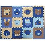 TianMei 30 * 30 * 1,3 cm Tiere Weichschaum EVA-Boden-Matte Jigsaw Puzzle-Matten für Kinder Spielmatte 12tlg