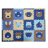 TianMei 30 * 30 * 1,3 cm Tiere Weichschaum EVA-Boden-Matte Jigsaw Puzzle-Matten für Kinder Spielmatte 12tlg (B-Tiere)
