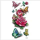 Adesivo Per Tatuaggi 3D A Colori Cartone Animato Fiore Di Farfalla Trasferimento Di Acqua Simulazione Temporanea Adulti Body Art Petto Braccio A Mano Gamba Accessori Per Decalcomanie 19X9Cm