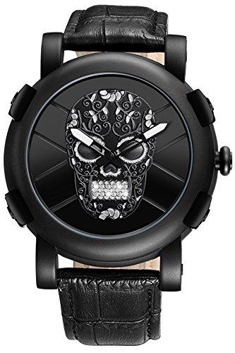 Skone Designer Uhren Herren Skull Schädel Rock Armbanduhr Analoge Quarzuhr Modisch Lederband Geschenk Schwarz