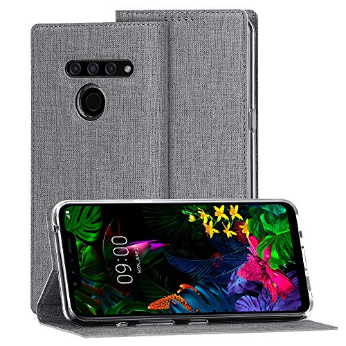 Eastcoo LG G8s ThinQ Hülle,LG G8s ThinQ Wallet Handyhülle PU Leder Flip Case Tasche Cover Schutzhülle mit [Standfunktion][Magnetic Closure][Card Slots] für LG G8s ThinQ Smartphone,Grau