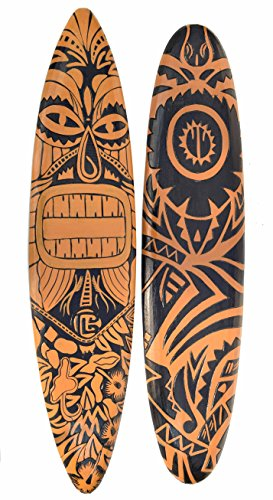2 Surfboard 100cm Dekoration Maori Moai Surbrett im Tiki Beach Style Hawaii