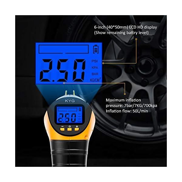 KYG Compresor de Aire Eléctrico Portátil 12V 130 PSI Bomba Inflador de Aire Digital con Presión Prefijada de Cierre y…