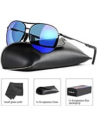 BLEVET Herren Frauen Polarisierte Fahren Sonnenbrille Al-Mg Metall Rahme Ultra Leicht BE003 l6EhaDZ