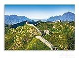 Wallario Herdabdeckplatte / Spritzschutz aus Glas, 1-teilig, 80x52cm, für Ceran- und Induktionsherde, Motiv Die Chinesische Mauer - Wahrzeichen in China im Sommer