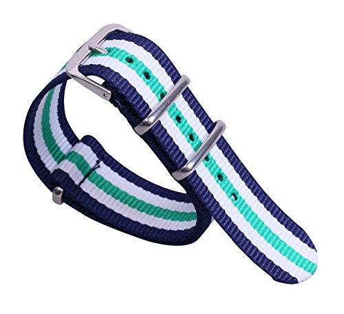 12mm dunkelblau / weiß / grün Deluxe lässig strapazierfähiges Nylon Mädchen NATO-Stil Uhrenarmbänder Bänder für Damen