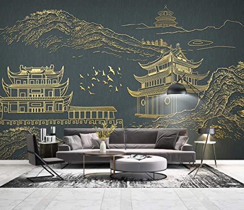 Fototapete Gebäude Vlies Wandbild Tapeten Moderne 3D effekt Wandtapete Wohnzimmer Schlafzimmer Fernseher Sofa Hintergrund Wanddekoration 400 cm (B) * 280 cm (H) 8 Streifen