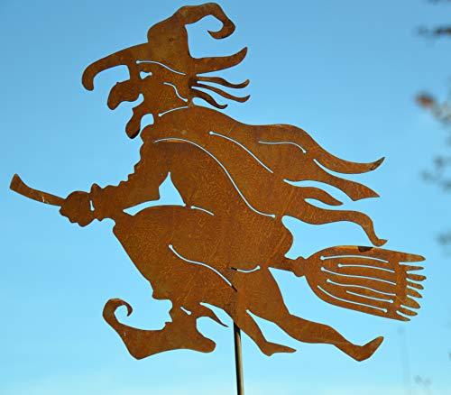 Edelrost Gartenstecker 115-120 cm - lustige Hexe -tanzend- -Gartendekoration - sehr gute Qualität