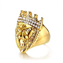 Weiwei Mens Oro Acero Inoxidable Anillo Rhinestone Corona Cabeza León Anillo de Oro Enviar Amigo de