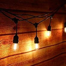 Tomshine Outdoor Lichterkette mit 15 E27 LED Birnen für Garten, Balkon, Hof, IP65 Wasserdicht/Strombetrieben, 14.63m, Warmweiß