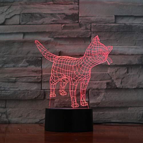 3d Nachtlicht Nette Katze Kitty Lampe 7 Farben Nachtlicht Atmosphäre Licht 3D Stimmung Touch Lampe Wohnkultur weiße Basis