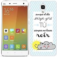 Funda carcasa para Xiaomi MI4 diseño ilustración frase aunque el día salga gris tú me haces reír borde blanco