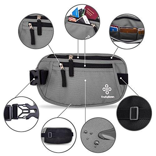 Premium Reise-Bauchtasche mit RFID-Blocker für Damen & Herren - Leichte Hüfttasche enganliegend - Gürtel-Tasche für Sportler & Reisende - Flacher geräumiger Geld-Gürtel (Beige) Grau