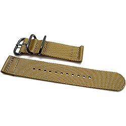 DaLuca Two Piece Ballistic Nylon NATO Watch Strap - Sand (PVD Buckle) : 26mm